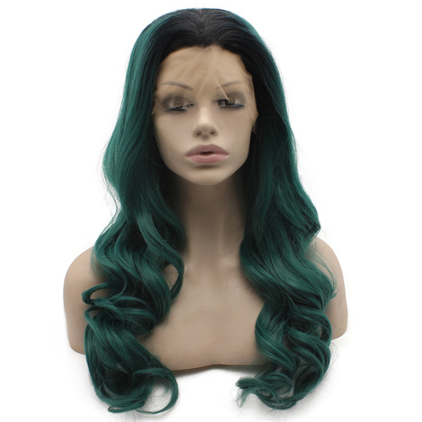 Long Wavy Ombre Black Green Heat Safer Fiber Hair Lace Front Wig