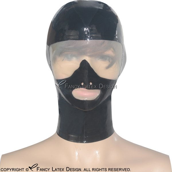 Black Sexy Latex Hood With Transparent False Glasses Zip At Back Open Nose Fetish Rubber Mask Bondage Plus Size TT-0032