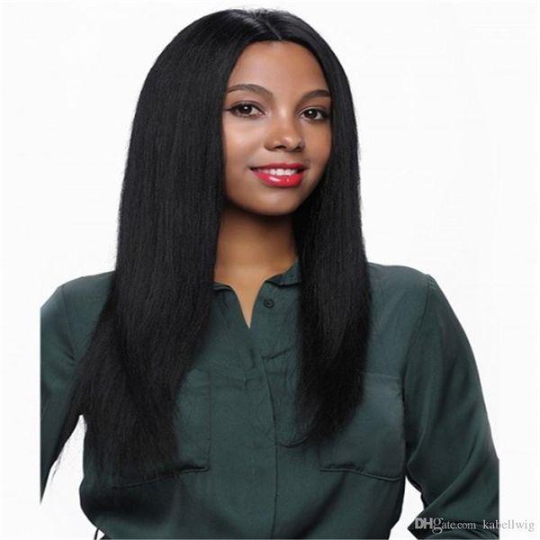 Luxuriöse Erweiterte silk simulation kopfhaut 5,5 * 5,5 Basis Volle Spitze Perücke Gerade Brasilianische Remy Menschenhaar Für Schwarze Frauen Natürliche Farbe schwarz