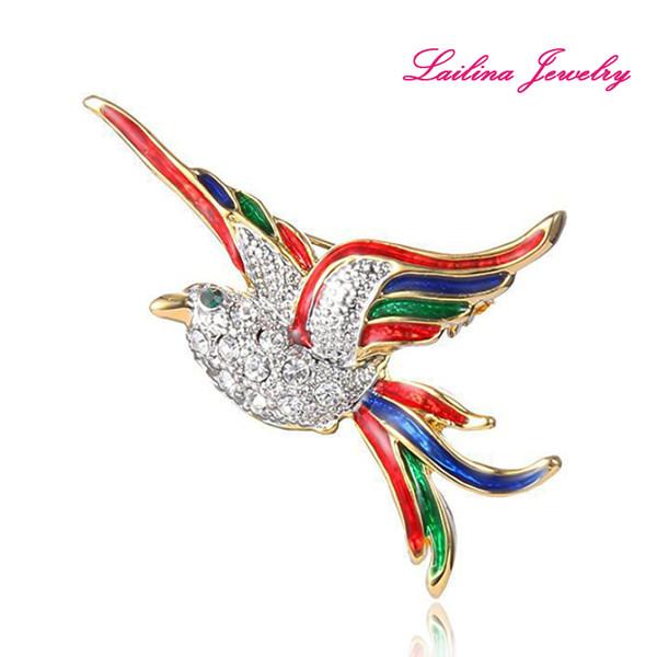100pcs/lot Gold-Tone Crystal Colorful Enamel Flying Bird Brooch Pins Clear Rhinestone Elegant Animal Fashion Brooches