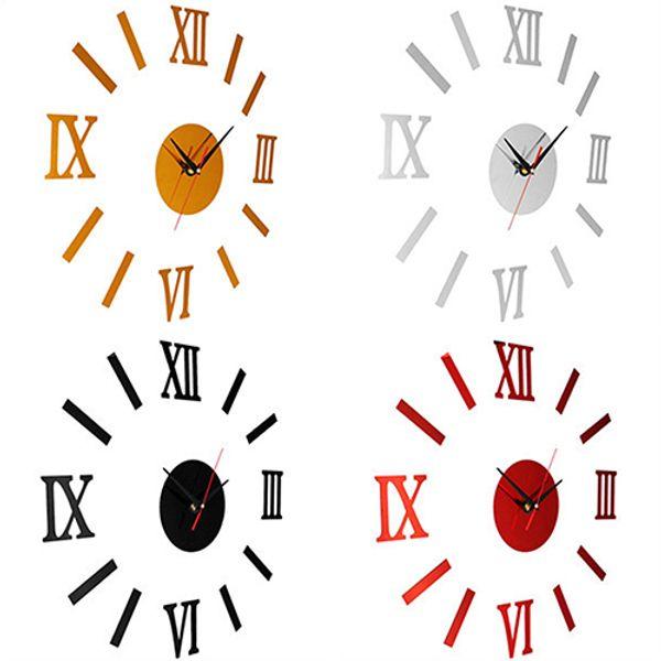 Wholesale-Vintage Roman Numerals Frameless Wall Clock 3D Home Decor Wall Art Stickers