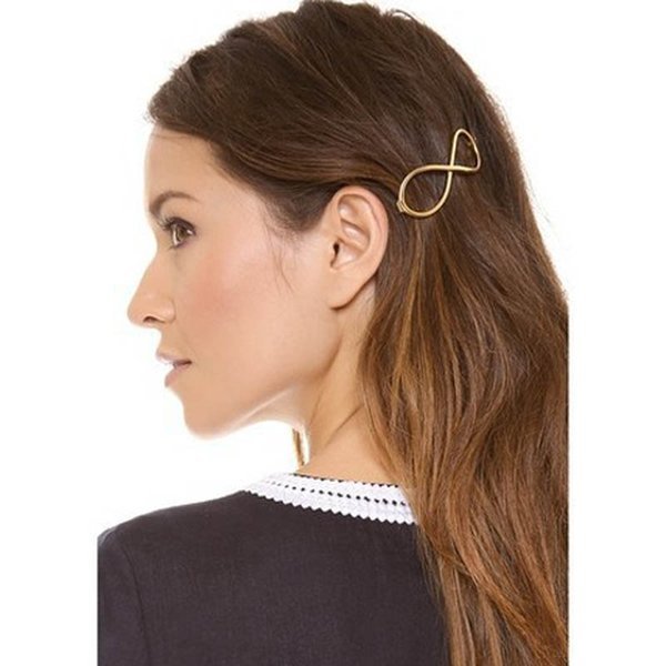 top popular 1PC Women Infinity Gold Barrette Hairpin Hair Clip Hair accessories Headband Hair Jewelry Perfect Gift for lady 2019