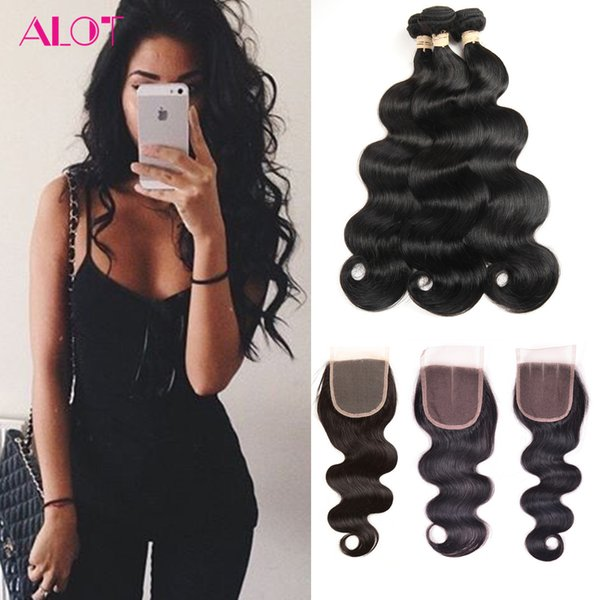 Brazilian Virgin Human Hair Bundles Body Wave 4 Bundles with Closures Brazilian Indian Peruvian 100% Unprocessed Human Hair Extensions