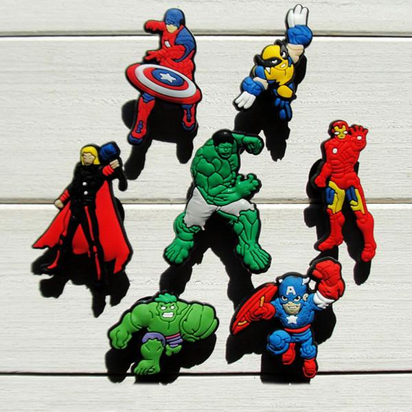 35pcs Avengers PVC Shoe Charms Ornaments Buckles Fit for Shoes & Bracelets ,Charm Decoration,Shoe Accessories Party Gift Free Shipping