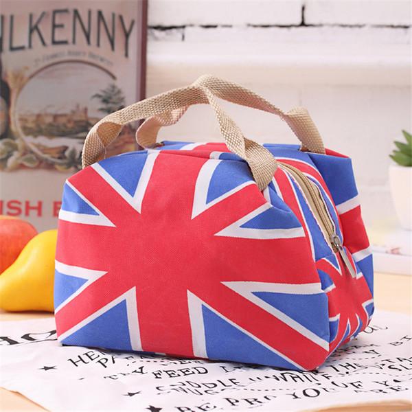Großhandels-Persönlichkeit British Style Retro Flagge Taschen Wasserdicht Leinwand Wärmedämmung Tasche Tote Picknick Tasche Sommer Kühler Picknick Tasche