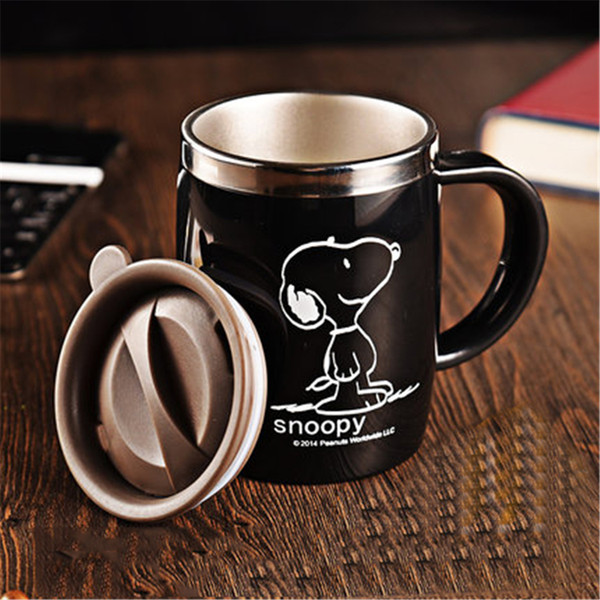 Wholesale- Cartoon Stainless Steel Coffee Mugs With Lid Personalized Copo English China Eco-friendly Porcelain Cartoon Mug Handgrip QQB763