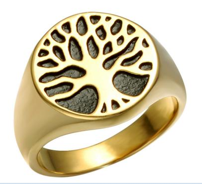 Punk Gold Color Titanium Stainless Steel Wisdom Tree Tree Of Life Rings For Men Jewelry Size 8-12