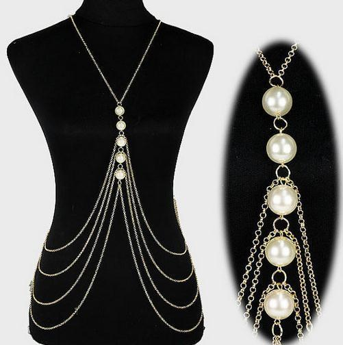 Belly Chains Europe and United States Fashion Multi-Layer Handmade Artificial Pearl Body Chain