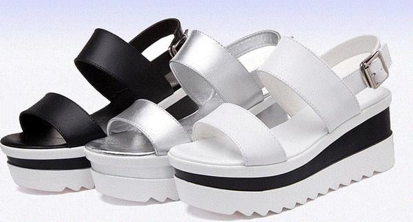 Plateau Sandalen Frauen Sommer Schuhe aus weichem Leder Freizeitschuhe offene Spitze Gladiator Wedges Trifle Mujer Frauen Schuhe Flats.LX-017
