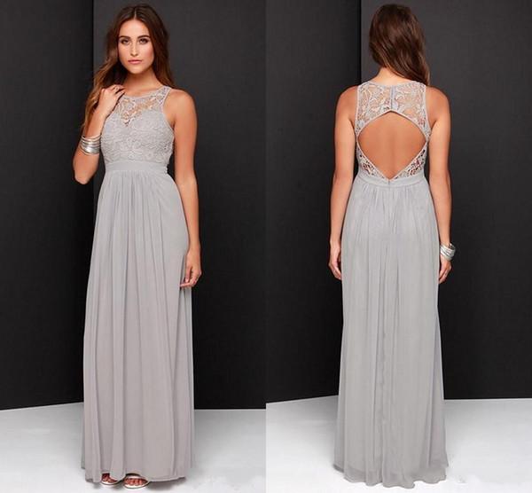 2017 Gümüş Gri Uzun Gelinlik Modelleri Scoop Dantel Şifon Kat Uzunluk Aç Geri Ucuz Düğün Konuk Elbiseler Onur Hizmetçi