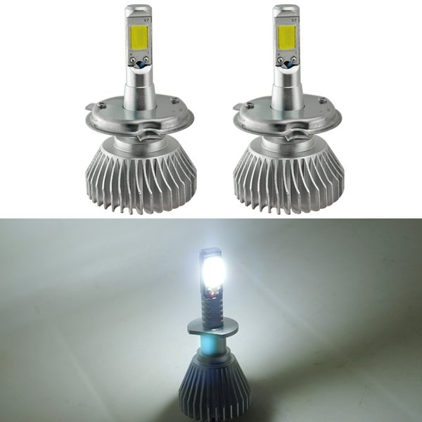LEEWA Super White H4 Hi/Lo 60W 6400LM Car COB LED Headlight Kit Fog Lamp Xenon Bulb 6000k #2401