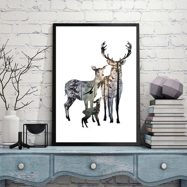 Silhouette of Deer Canvas Posters Painting for Living Room Modern Wall Pictures Artworks Cerf Decoration Home Elk Art Prints Photos Unframed