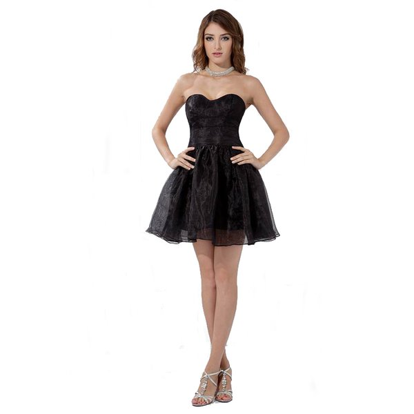 Formal Style Above Knee Black Short Dress Yong Ladies Dancing Dress Birthday Party Gown Sweetheart Neckline