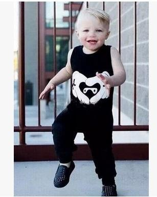 New Baby Boys Vest Pants 2PCS Outfits For Babies Kids Cotton Black Tops Tees Trouser Suits Infants Toddlers Sleeveless Cothes Set For 0-3T