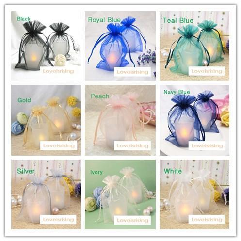 19 colores Pick-100pcs 10x15cm Sheer organza bolsa del banquete de boda decoraciones suministros organza bolsa de regalo del bolso del caramelo