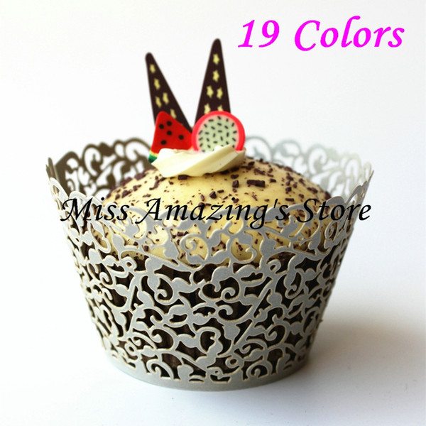 Wholesale- 50pcs Laser Cut Silver Cupcake Wrappers Decor Wedding Birthday Party Baby Shower Wrap