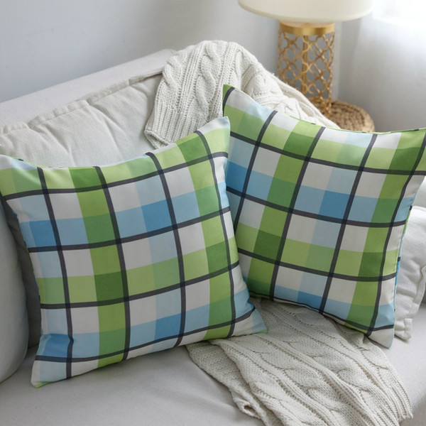 Astounding Green And Blue Plaid Cushion Cover 45Cm 60Cm Cotton Canvas Fabric Sofa Couch Chair Throw Pillow Case Modern Almofada Cojines Papasan Chair Cushion Onthecornerstone Fun Painted Chair Ideas Images Onthecornerstoneorg