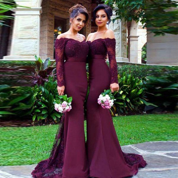 Sirena fuera del hombro Manga larga Barrido del tren Vestido de dama de honor de Borgoña Apliques Encaje con cristales Vestidos de novia en color púrpura