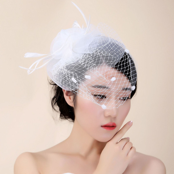 Big Hole Tulle White Bridal Hats Hair Fascinator With Flower Feathers New Birdcage Veil For Bride Ladies Face Veil
