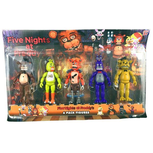 5 Pz / set 12 cm Cinque Notti A Freddy Fnaf 4 Giocattoli Action Figure in PVC Freddy Bear Chica Foxy con luci a LED Giocattoli Freddy Giocattolo per bambini