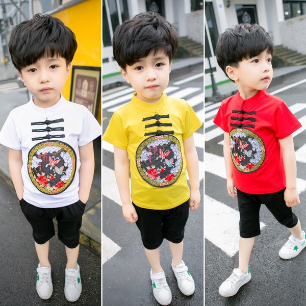 2018 new chinese style embroidery buttons summer kids boy clothes 2pcs set t shirts shorts suits for children 18M-7T free shipping