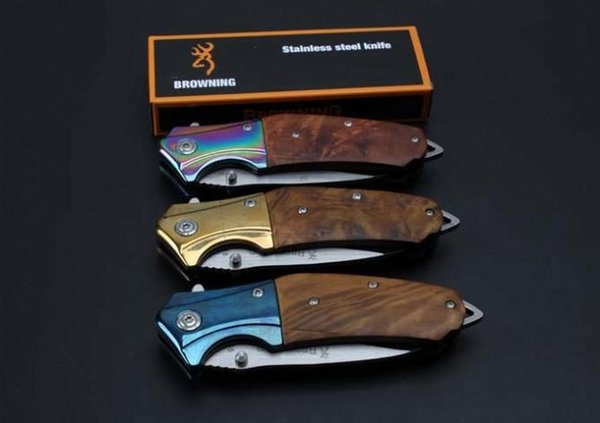 OEM browning B55 folding knife 5cr15blade/ steel+wood handle saning light surface EDC outdoor tools free shipping