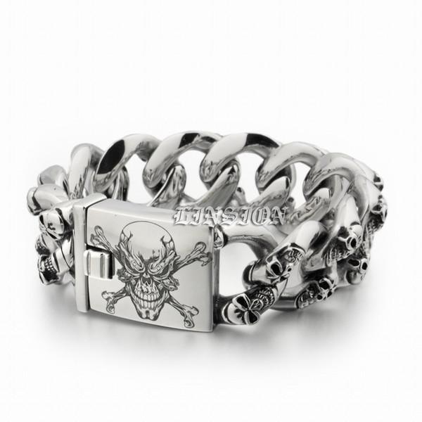 LINSION Huge Heavy 316L Stainless Steel Deep Laser Engraved Pirate Skulls Mens Boys Biker Rock Punk Bracelet 5F105