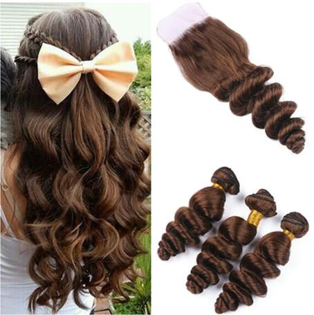 Loose Wave Medium Brown 4x4 Front Lace Closure With 3Bundles 4Pcs Lot Brazilian #4 Chocolate Brown Human Hair Weaves with Top Closure