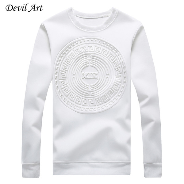 best selling Wholesale-Men's Capless Hoodies Abstract Circular Patterns Pure Color Casual Sweatshirt Fashion Jacket Plus Size:M-5XL 968