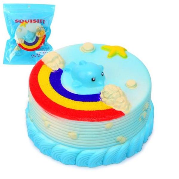 2017 Jumbo 12CM Squishy Blue Ocean Whale Millie Cake Kawaii Cute Charm Squishies Super Slow Rising Bread Bun Kid Toy Gift Fun