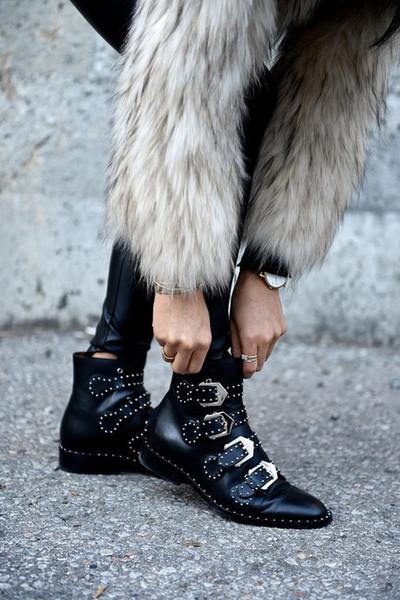 2017 Schnalle Verzierte Lederstiefel High Heels Studded Stiefeletten Für Frauen Booties Vier Straps Schwarz Weiblich Herbst Stiefel
