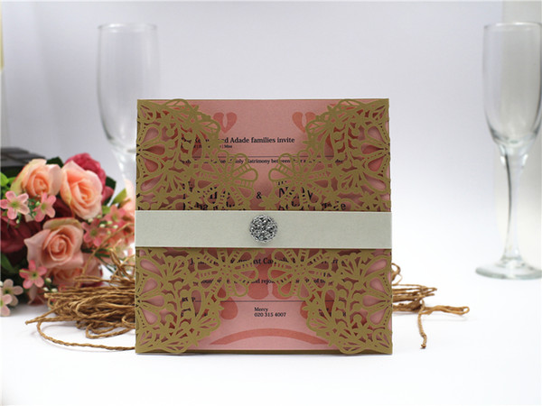 2019 Snowflake Design Gold Hollow Out Wedding Invitations Cards Customizable Invitation with Blank Inner Sheet Free shipping By UPS