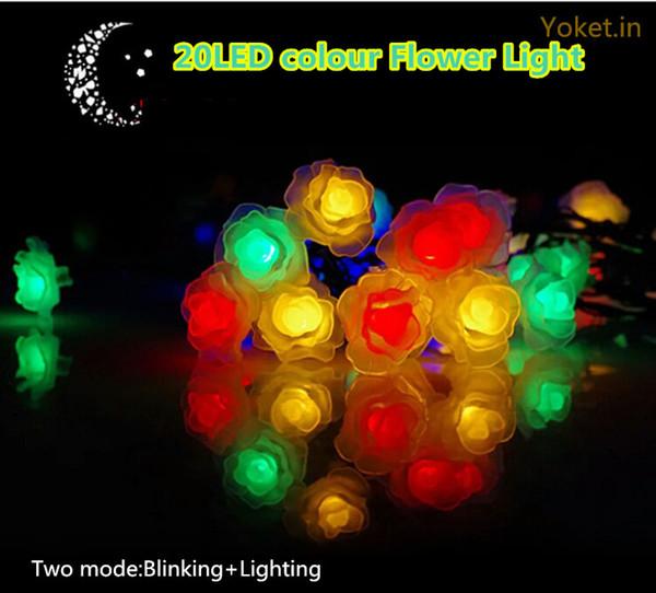 Waterproof Rose Flower LED Solar Powered String Lights for Wedding Outdoor Gardens Homes 20 LED Decor Holiday Lighting