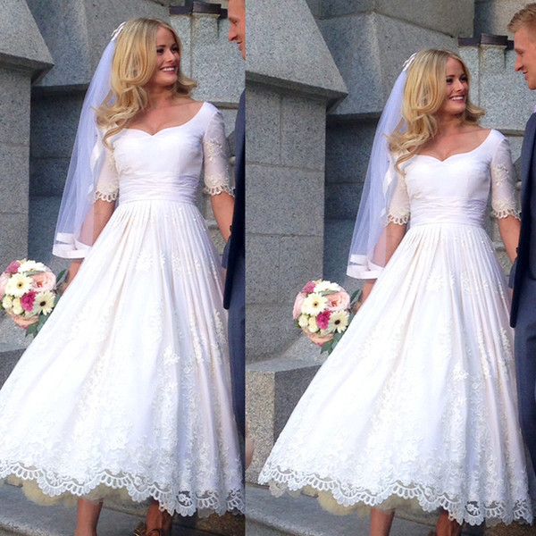 Vintage Tea Length Wedding Dress With Sleeves 2017 Vestido De Noiva Lace Appliques Custom Made Short Bridal Gowns From China Cheap