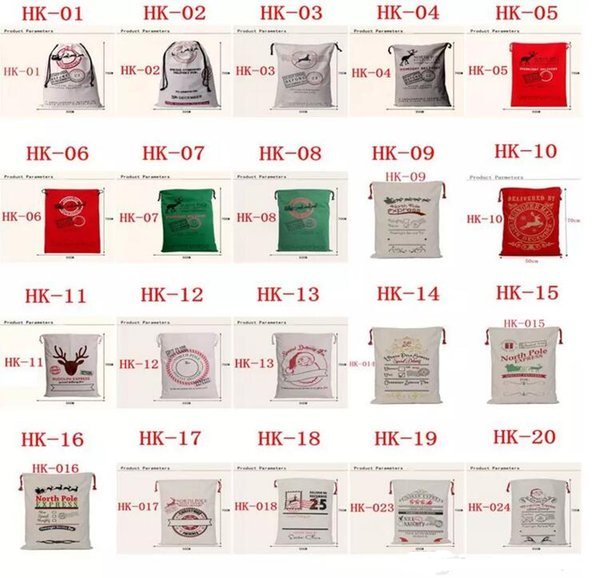 best selling Christmas Gift Bags 2017 New Large Organic Heavy Canvas Bag Santa Sack Drawstring Bag With Reindeers Santa Claus Sack Bags for kids