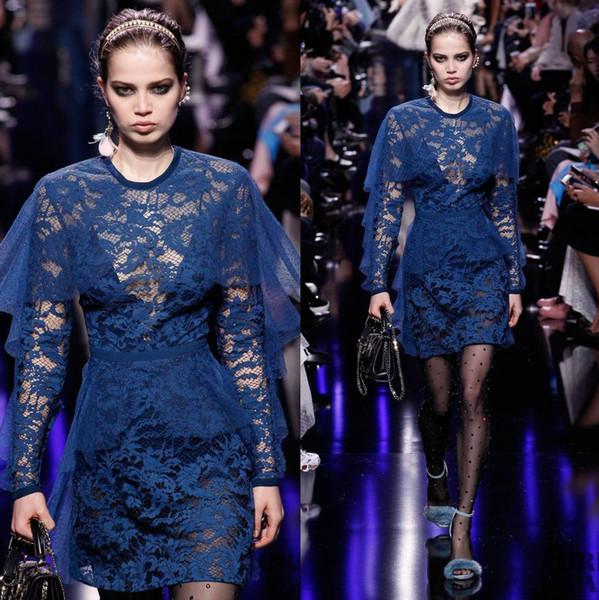 Vestidos Elie Saab de encaje azul marino Vestidos de noche Vestido con cuello redondo en forma de joya con manga larga Vestidos cortos de fiesta