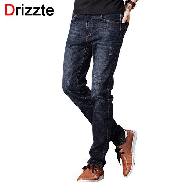 Wholesale- Drizzte Men's Jeans Stretch Fashion Black Blue Denim Brand Men Scratched Slim Fit Jeans Size 30 32 34 35 36 38 40 42 Pants Jean