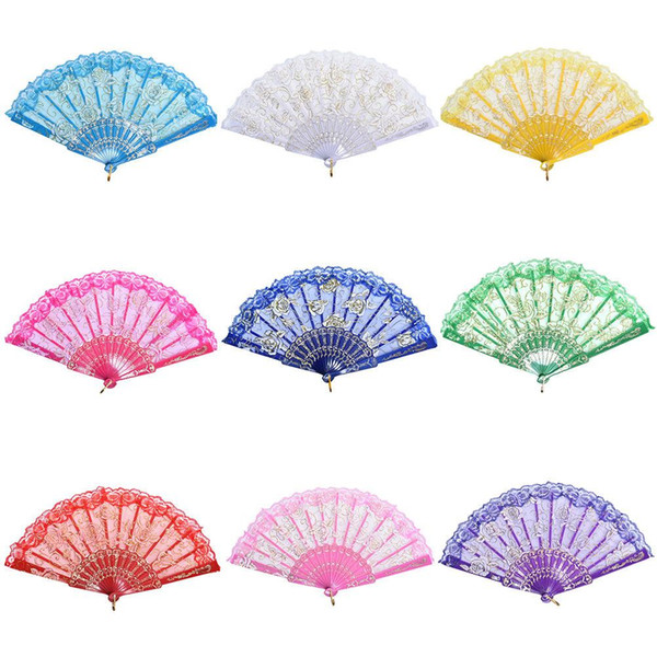 10 Colors Lace Spanish Fabric Silk Folding Hand Held Dance Fans Flower Party Wedding Prom Dancing Summer Fan Accessories