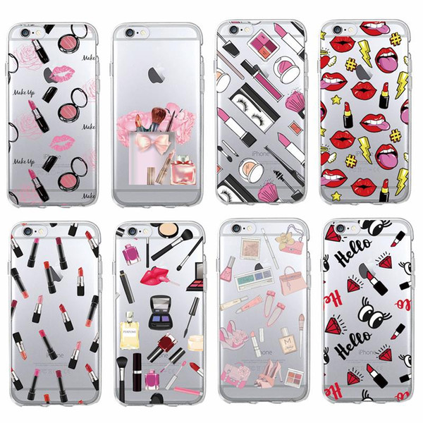 For iPhone 7 7Plus 6 6S 5 5S 8 8Plus X SAMSUNG Fashion Sexy Lips Makeup Cosmetics Lipstick Soft Clear Phone Case Coque Fundas
