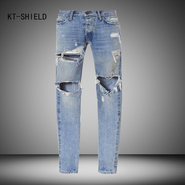 Wholesale- Best version men Vintage destroyed skinny blue denim jeans Mens Knee Hole slim Distressed Jeans Knife Cut Ripped Jeans For Men