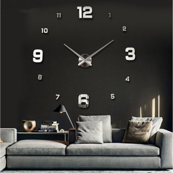 Special Large DIY 3D Wall Clock Living Room Acrylic Mirror Self-Adserve Stickers Modern Design Home Decor For Kids Free Shipping