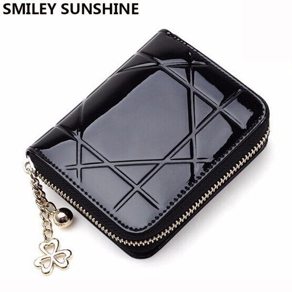 Wholesale- Patent Leather Womens Wallets Female Small Wallets Mini Zipper Wallet for Women Short Coin Purse Holders Clutch Girl Money Bag