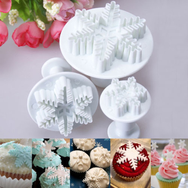 Wholesale- 2016 Top Fashion Sale Mold Bakeware Pastry Tools 3x Snowflake Snow Cake Fondant Pastry Cutter Plunger Mold Tools Decor K1403