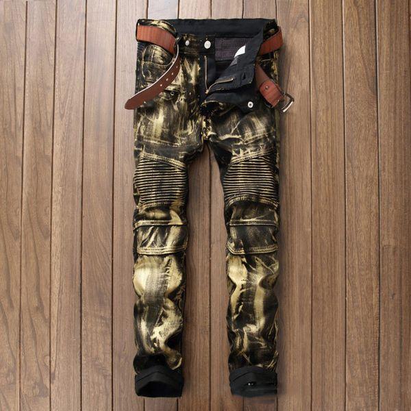 Vente en gros - Marque de mode nouvelle hommes argenté enduit jeans denim biker jeans Slim skinny pantalon de moto plissé pantalons longs pour hommes