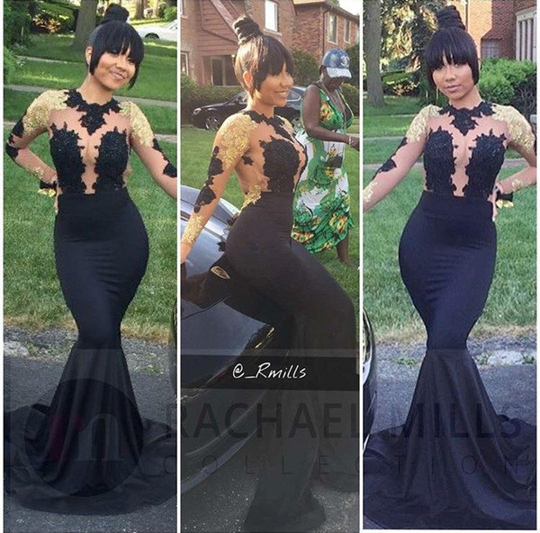 top popular 2017 New Black Mermaid Prom Dresses High Neck Sheer Long Sleeves Illusion Bodices Gold Appliques Sexy Backless Evening Dresses 2K17 Prom 2020