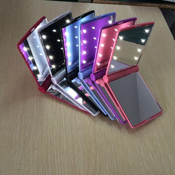 L'alta qualità calda 8pcs LED specchio di trucco che piega la tasca compatta portatile 6 colori signora ha condotto le lampade delle luci dello specchio DHL libera il trasporto