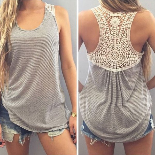 New Summer Women Striped Blouses Sleeveless Casual Ladies Shirts Sexy Backless Vest Cotton Knited Floral Blouse Tops D1
