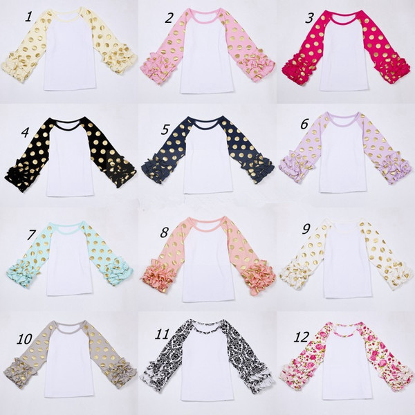 best selling Sweet Girl Ruffle Sleeve Tops with gold polka dot print Baby Girls boutique o-neck casual shirt Autumn fall flower tops