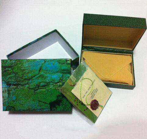 Ücretsiz kargo İzle Mens Için Izle Kutusu İç Dış Kadının Saatler Kutuları Erkekler Kol Yeşil kutu kitapçık kartı