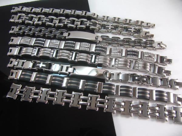 10 adet / grup 316L paslanmaz çelik bilezikler erkek takı PUNK bilezik Gotik Bizans uzunluğu yaklaşık 8.7 inç